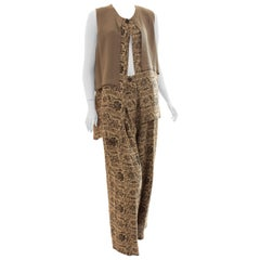 New Ivan Grundahl Long Vest & Pants Set Lagenlook Linea S Jag Floral Tweed M