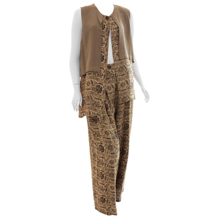 New Ivan Grundahl Long Vest & Pants Set Lagenlook Linea S Jag Floral Tweed M  For Sale