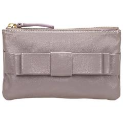 Valentino Gray Leather Pouch