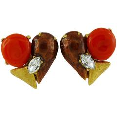 Christian Lacroix Vintage Abstract Heart Clip-On Earrings