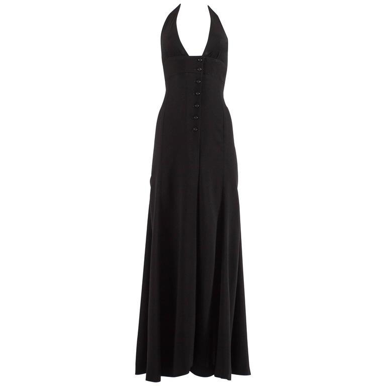Ossie Clark 1970 black moss crepe halter neck evening dress