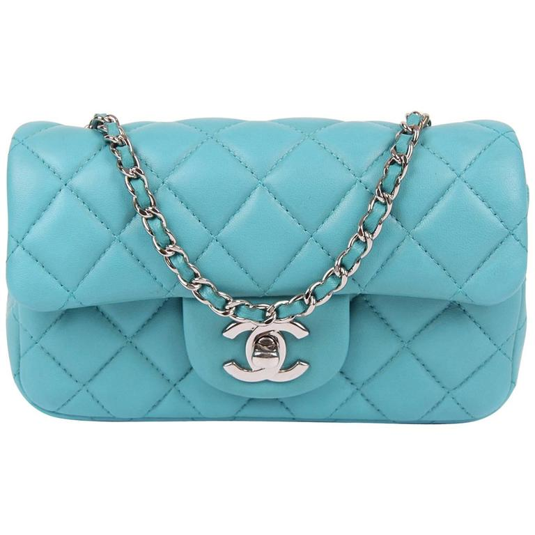 560967cbe46467 Chanel 2.55 Classic Mini Flap Bag Crossbody - turquoise at 1stdibs