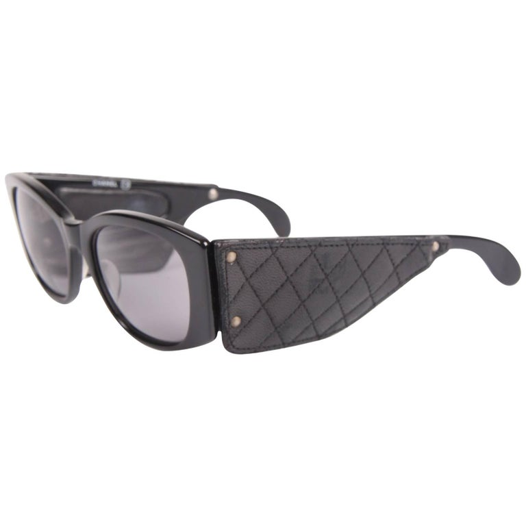 Vintage Chanel Sunglasses with Black Leather Quilted Temples - black For Sale