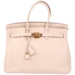 Hermes Birkin Bag 35 Parchemin Togo - goldtone hardware