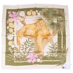 Salvatore Ferragamo Silk Scarf Leopard & Jungle - green/yellow/pink