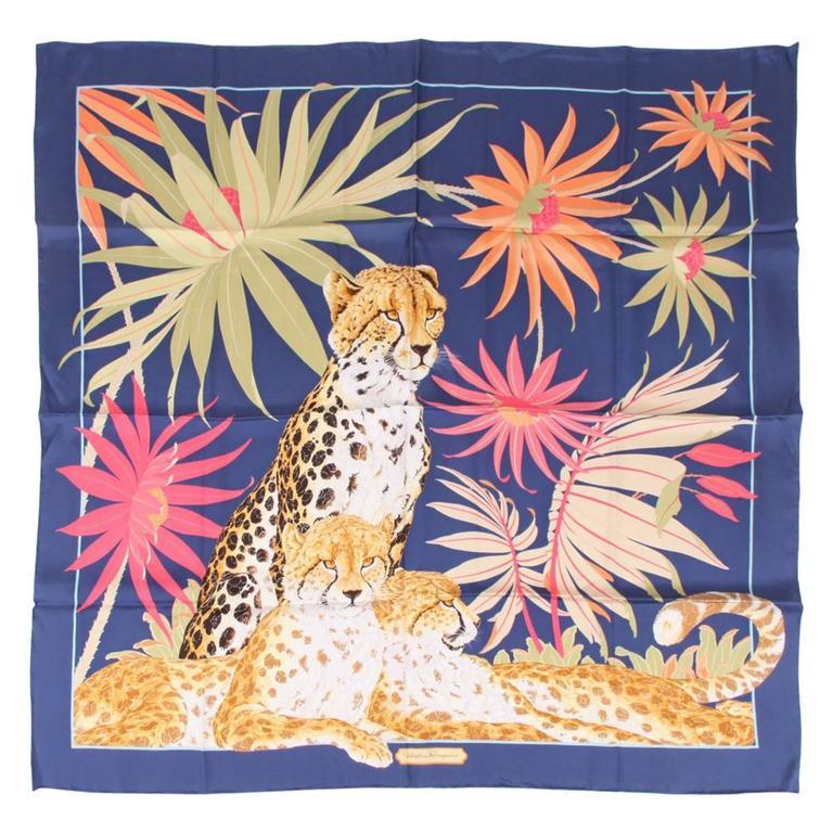 Salvatore Ferragamo Silk Scarf Leopard - blue/yellow/orange