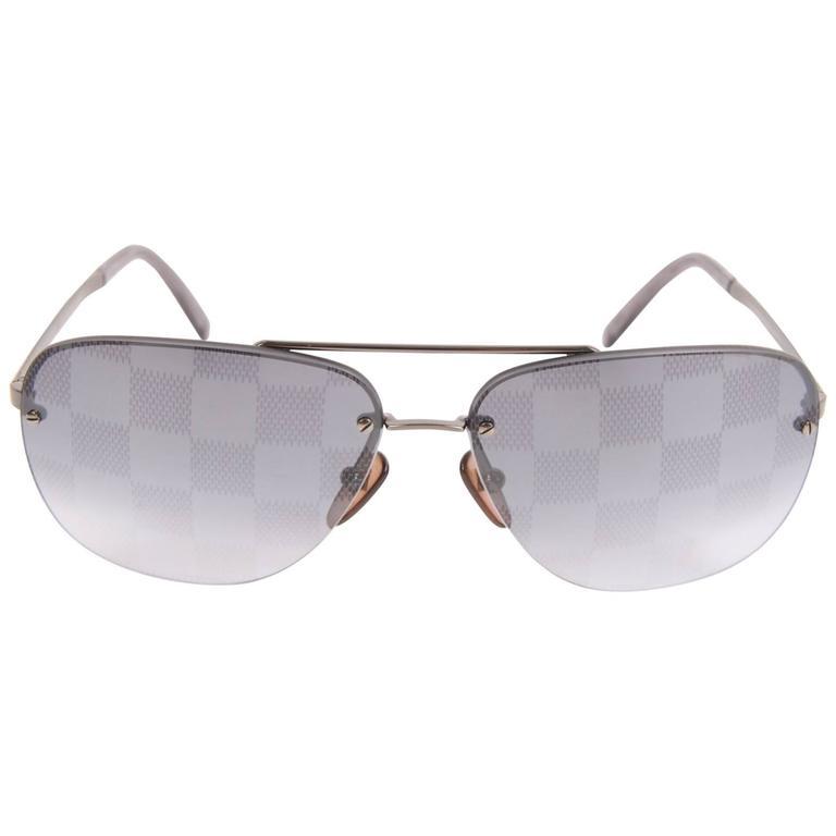 ad3e32e33e63 Louis Vuitton Socoa Damier Aviator Sunglasses - blackish silver For Sale