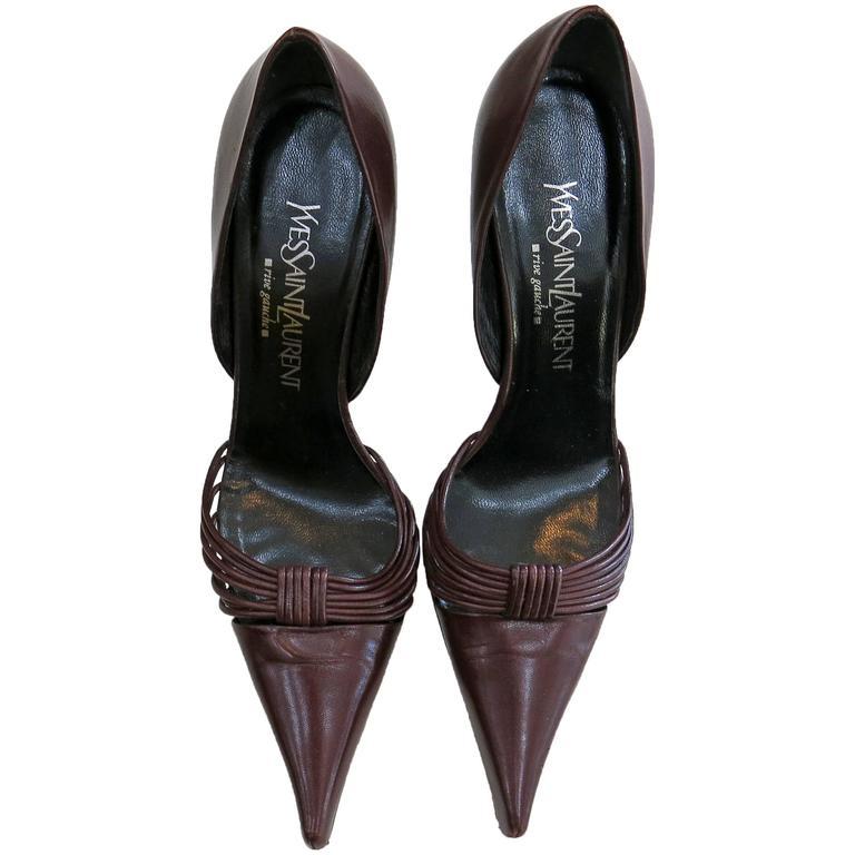 Yves St Laurent Maroon Leather Heels