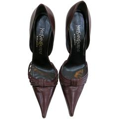 Yves St Laurent Maroon Leather Heels