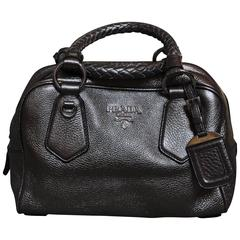 2006 Prada Piombo Vitello Daino W Bowler Bag