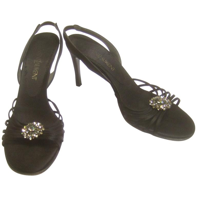 35524231006 Yves Saint Laurent Black Crystal Satin Pumps in YSL Box Size 7.5 M For Sale