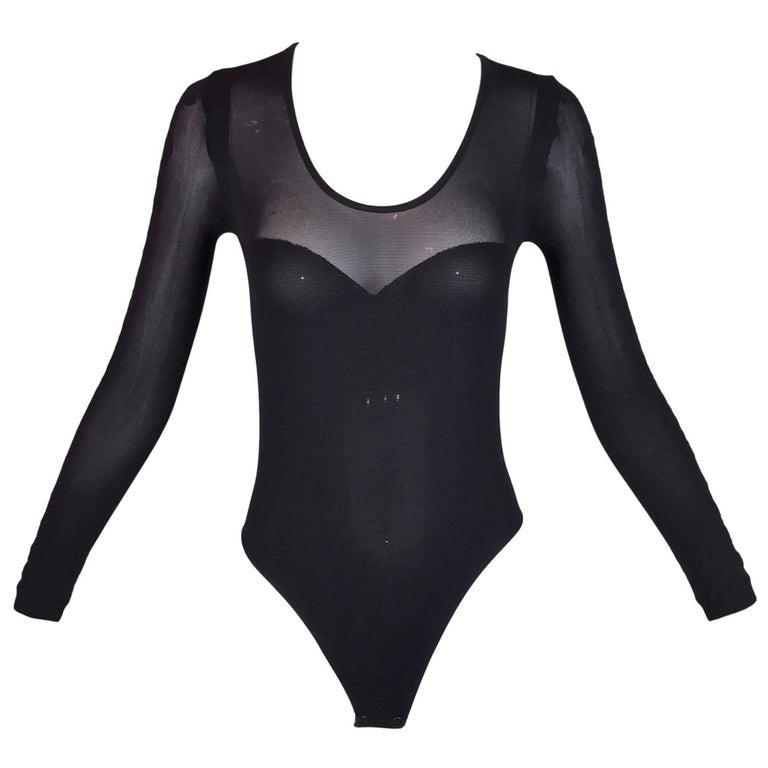 1990's Christian Dior Sheer Black Tattoo L/S Bodysuit Top S