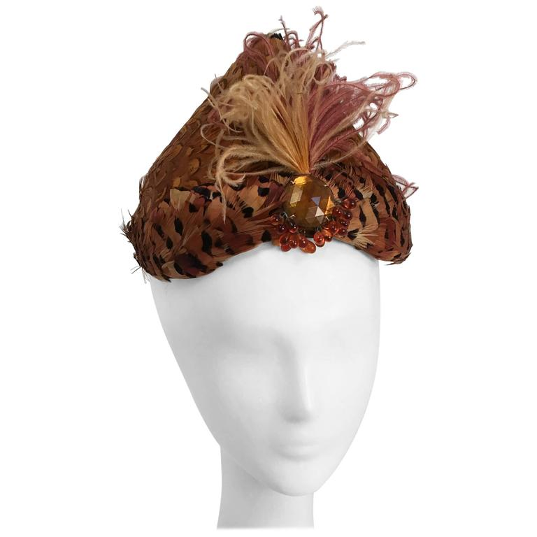 1950s Feather Turban Style Hat