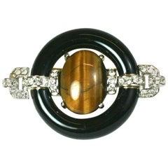Ciner Tigers Eye Art Deco Revival Brooch