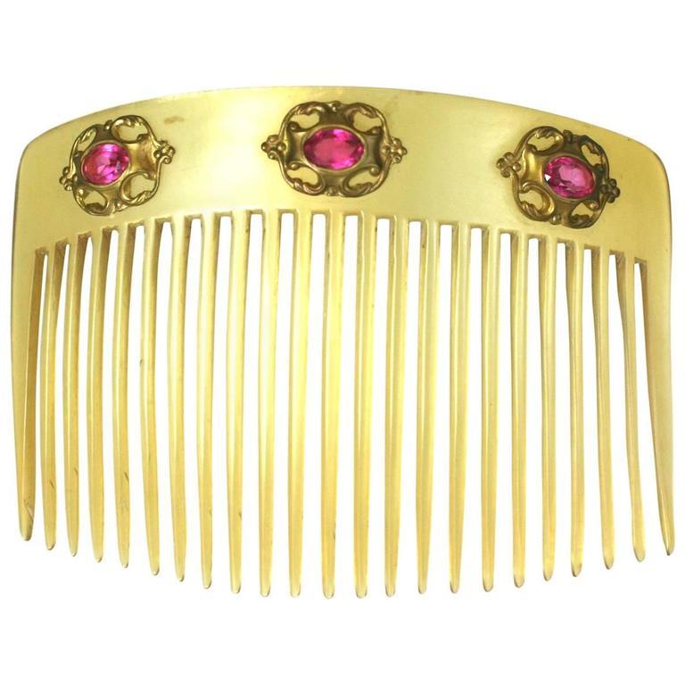 Blond Celluloid Art Nouveau Comb