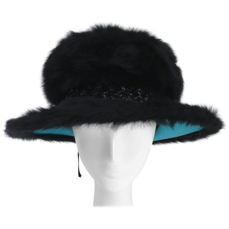 70s Schiaparelli Fur Wide Brim Hat