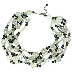 Lucite and Pave Rondel Bead Necklace