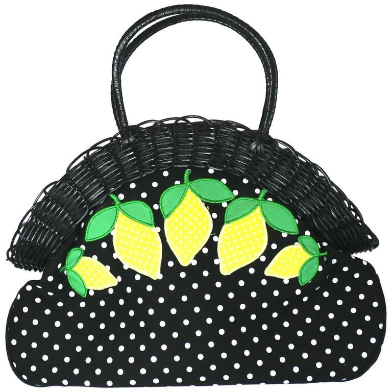 Lulu Guinness Wicker Framed Lemon Applique Bag zTatCzd