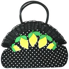 Lulu Guinness Wicker Framed Lemon Applique Bag