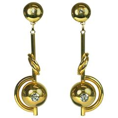 Ugo Correani Modernist Gilt Earrings