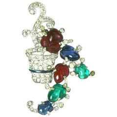 Trifari Tricolor Fruit Salad Clip Brooch by Alfred Philippe