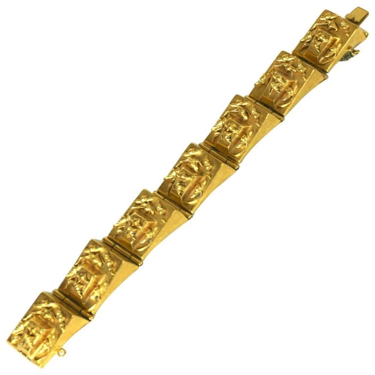 French 1930s Retro Link Bracelet For Sale