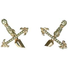 Amusing Gilt Silver Sword Hilt Earrings