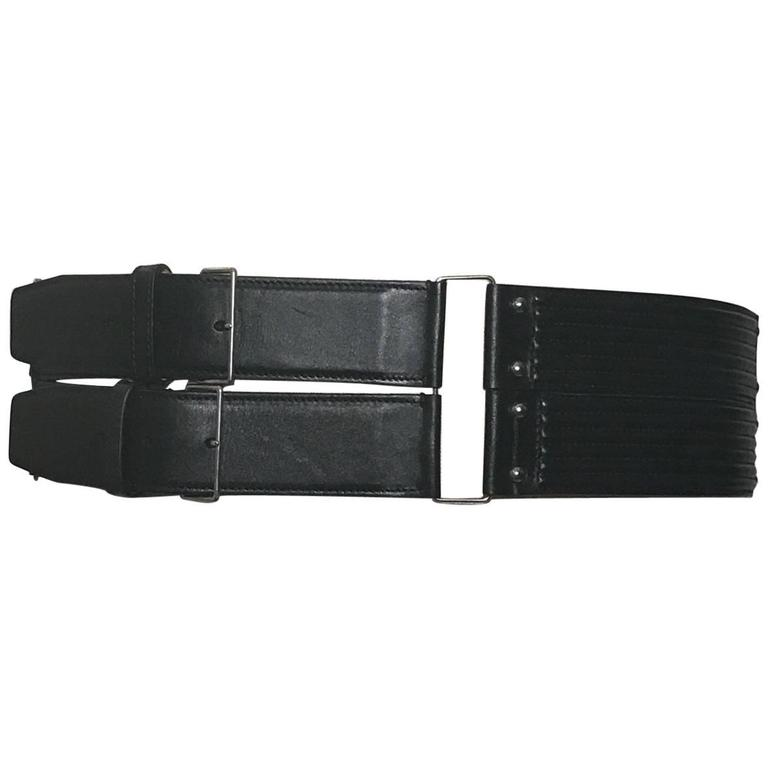 Azzedine Alaia Quilted Black Leather Wide Belt  For Sale