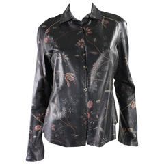 Roberto Cavalli Leather Blouse or Jacket with Gold Stitching