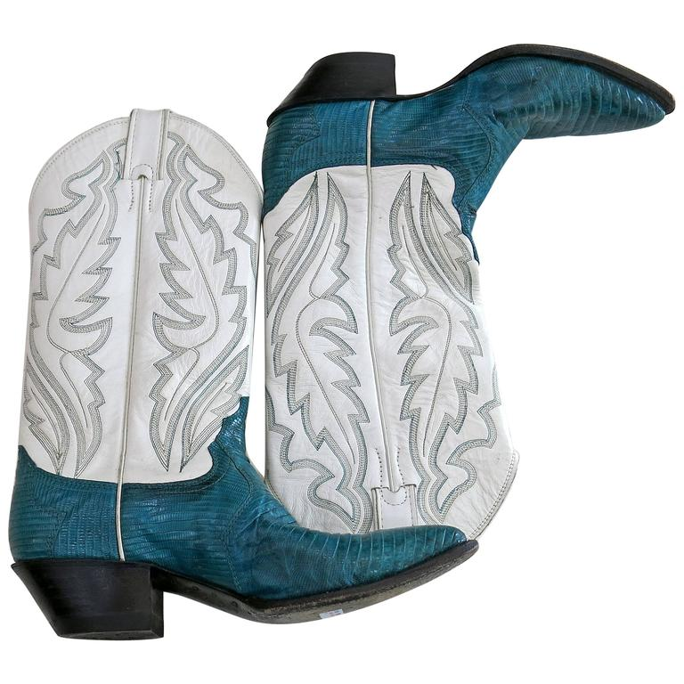 1980s Justin Turquoise Cowboy Boots