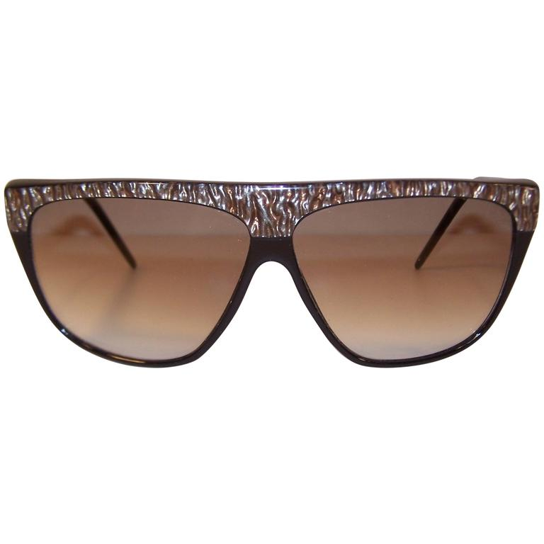Stylish 1980's Laura Biagiotti Pearlized Black Sunglasses