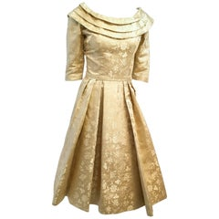 50s Gold Jacquard Cocktail Dress