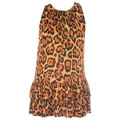 Christian Dior Leopard Animal Print Ruffle Tunic Top