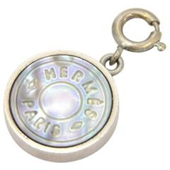 Hermes Silver Tone Round Pendant Top