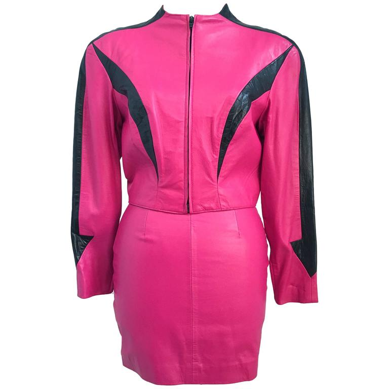 39c4ea3b20 80s Michael Hoban North Beach Leather Hot Pink Jacket and Mini Skirt Set  For Sale