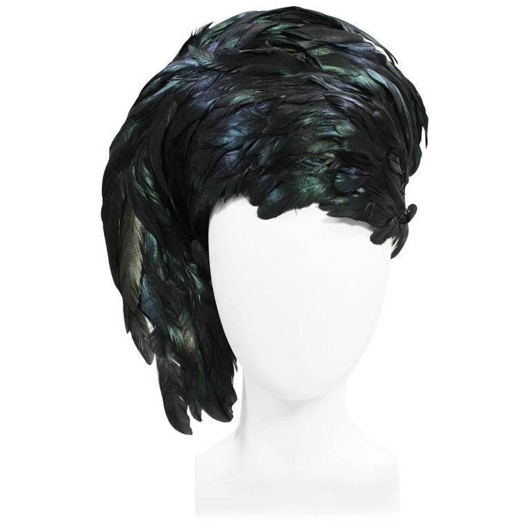 1960's Dramatic Jack McConnell Sculptural Feather Hat