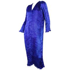 Patricia Lester Cobalt Blue Pleated Silk Gown