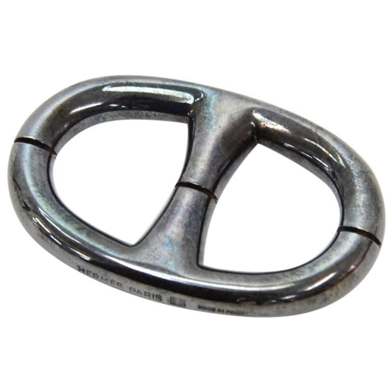 Hermes Chaine Dancre Palladium Scarf Ring