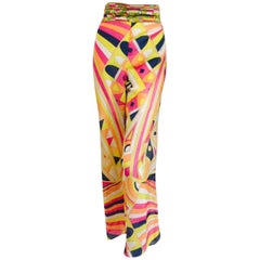 Emilio Pucci Wide Leg Cotton Blend Pants in a Geometric Multi Color Design