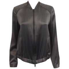 Brunello Cucinelli Grey Silk Jacket With Quilted Shoulders