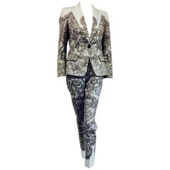 Emilio Pucci 2 Piece Pant Suit In Light Blue Background With Black Lace Print