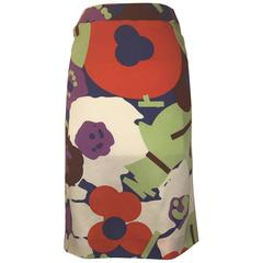 New Chanel 2000 Bold Abstract Floral Print Silk Pencil Skirt Red Blue White