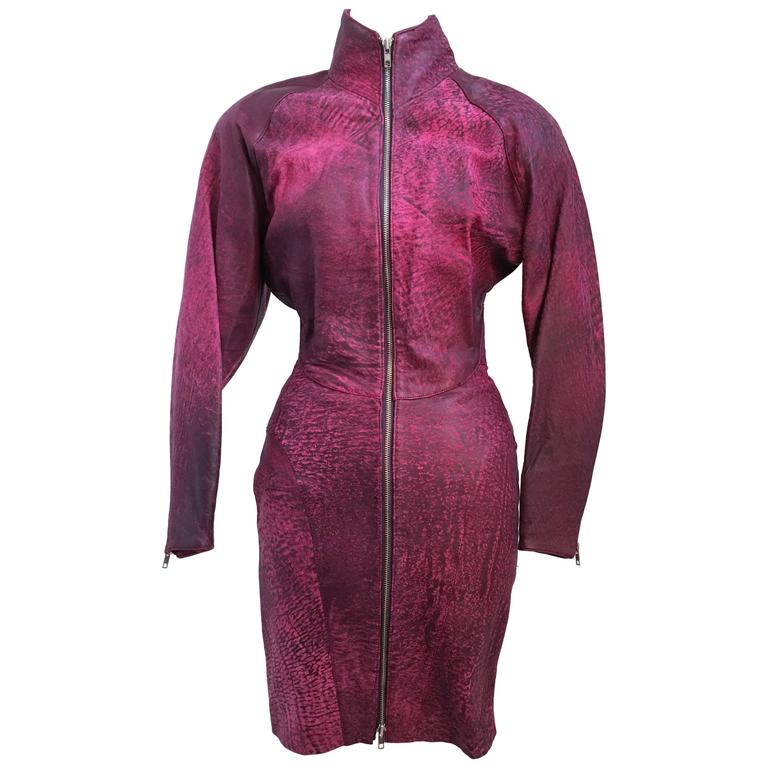 80s Michael Hoban North Beach Leather Pink Zip Up Dress