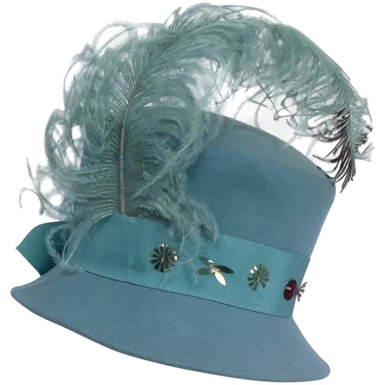 40s Robin Egg Blue Toy Hat w/ Feather