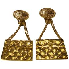 FANTASTIC CHANEL 1980/85 Iconic 2.55 Flap Bag Earrings / Good condition