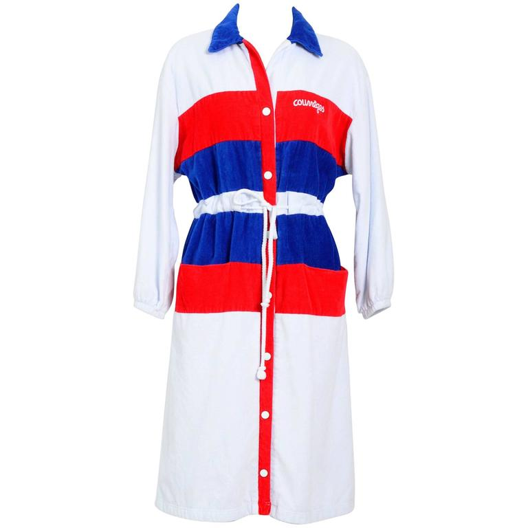 Courreges 1970's Tricolor Terry Cloth Coat