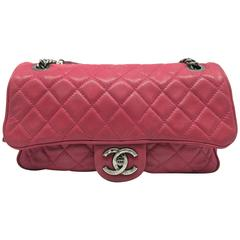 Chanel Shiva Flap Rose Red Quilting Lambskin Leather Silver Metal Shoulder Bag