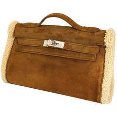 Hermes Kelly Teddy Pochette Veau Doblis Suede & Mouton Shearling Muff RARE