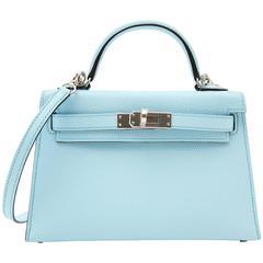 Never Used Hermes Kelly Sellier Mini Epsom Bleu Zephyr