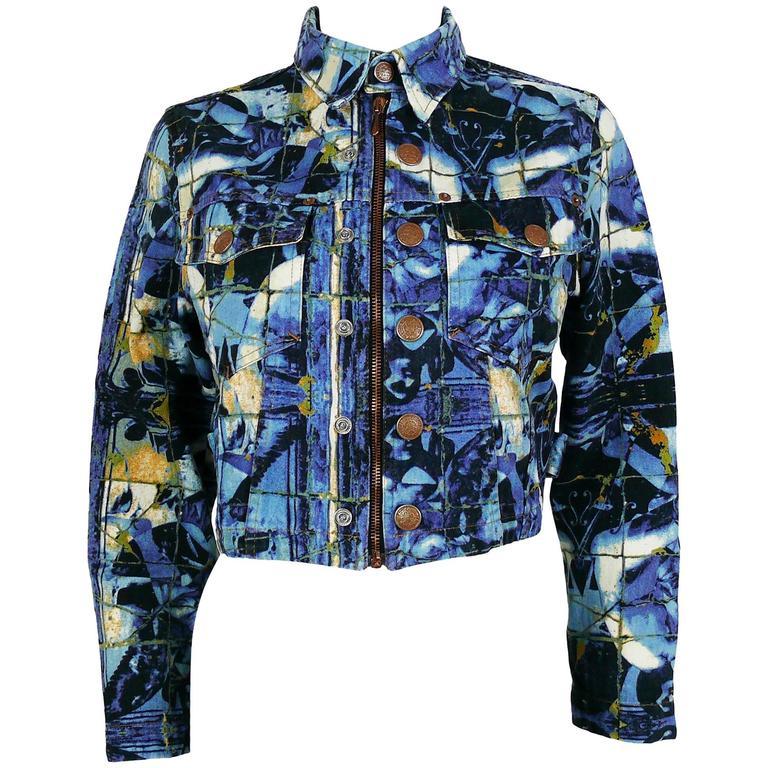 Jean Paul Gaultier Vintage Mosaic Print Cropped Jacket
